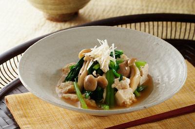 青菜と豆腐の簡単お浸し出来上がり図