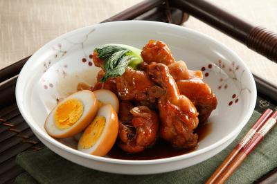 鶏手羽と卵のしょうゆ煮出来上がり図