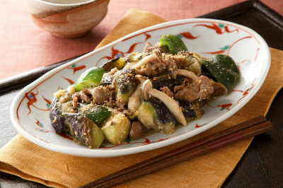 豚肉と秋野菜のごま味噌炒め出来上がり図