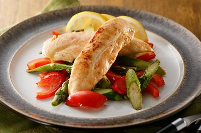 彩り野菜と鶏ささみの香りスパイス焼き出来上がり図