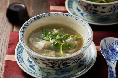 白きくらげと豚肉の中華スープ紫黒米酢風味出来上がり図