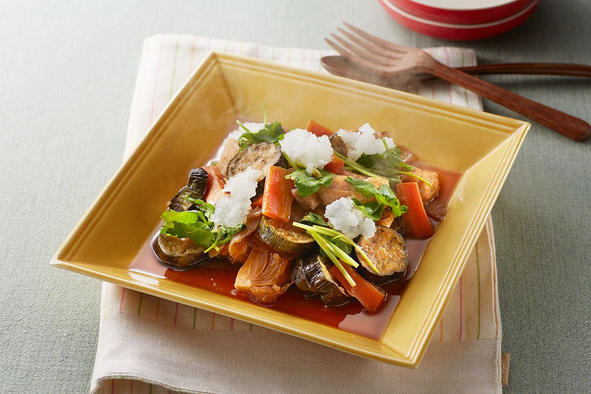 鶏肉と春野菜のささっとおろし煮出来上がり図