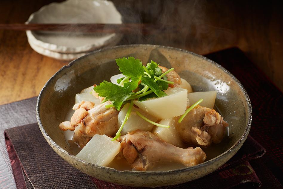 手羽元と大根の糀鍋風味煮出来上がり図