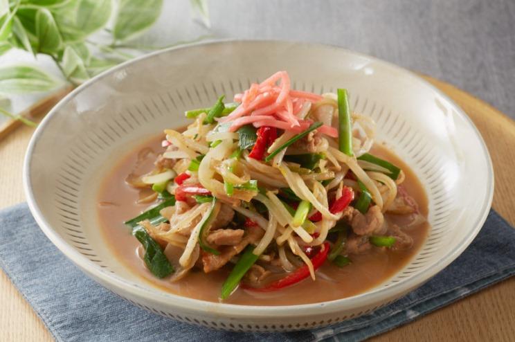 豚こまと野菜の博多ラーメンソース炒め出来上がり図