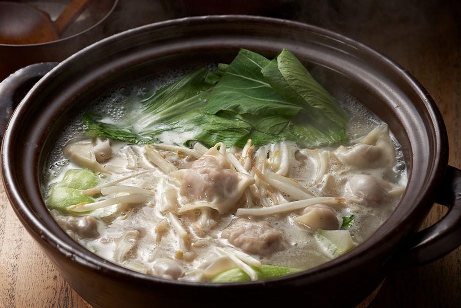 岩下の新生姜鍋スープでポカポカワンタン鍋出来上がり図